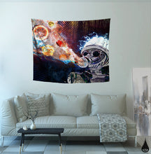 Astral Fumes Tapestry- Outer Space Tapestry- Planet College Dorm Decor- Trippy Gas Mask Wall Art- Brain Wall Hanging- Psychedelic Tapestry - Jud Hayden Art