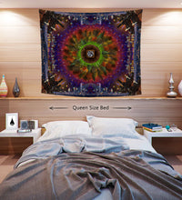 Concrete Skies Tapestry ~ Mandala City and Nature Wall Hang ~ College Dorm Room Decor ~ Large Psychedelic Art ~ Vibrant Kaleidoscope Design - Jud Hayden Art