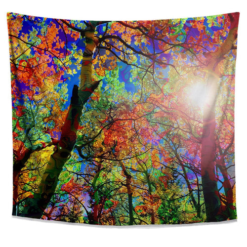 Colorful Canopy Tapestry- Bright Nature Dorm Tapestry- Forest Tree Tapestry- College Dorm Decor- Sun Wall Hanging- Vibrant Foliage Wall Art - Jud Hayden Art
