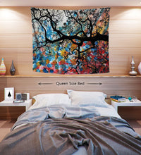Cherry Blossom Tapestry | Flower Wall Art | Abstract Dorm Decor | Chi Tree Bedroom Tapestry | Japanese Wall Decor | Colorful Wall Hanging - Jud Hayden Art