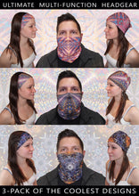 3 Pack Bandana Face Mask- Multi-functional Seamless Headband- Colorful Psychedelic Rave Mask- Trippy Festival Scarf- Wind / Dust Protection - Jud Hayden Art