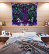 Tiger Tree Psychedelic Tapestry- Green Matrix Wall Hanging- Amethyst College Dorm Room Decor- Nature Forest Tapestry- Tree of Life Pattern - Jud Hayden Art