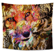 Sly Fox Tapestry- Orange Animal Wall Art- Floral Fractal Dorm Wall Hanging- Nature Home Decor- Camouflage Pattern- Bright Bedroom Tapestry - Jud Hayden Art