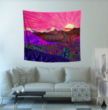 Trippy Trek Tapestry Wall Hanging | Colorful Landscape Design | Psychedelic College Dorm Wall Hanging | Trail to Horizon Art | Bright Decor - Jud Hayden Art