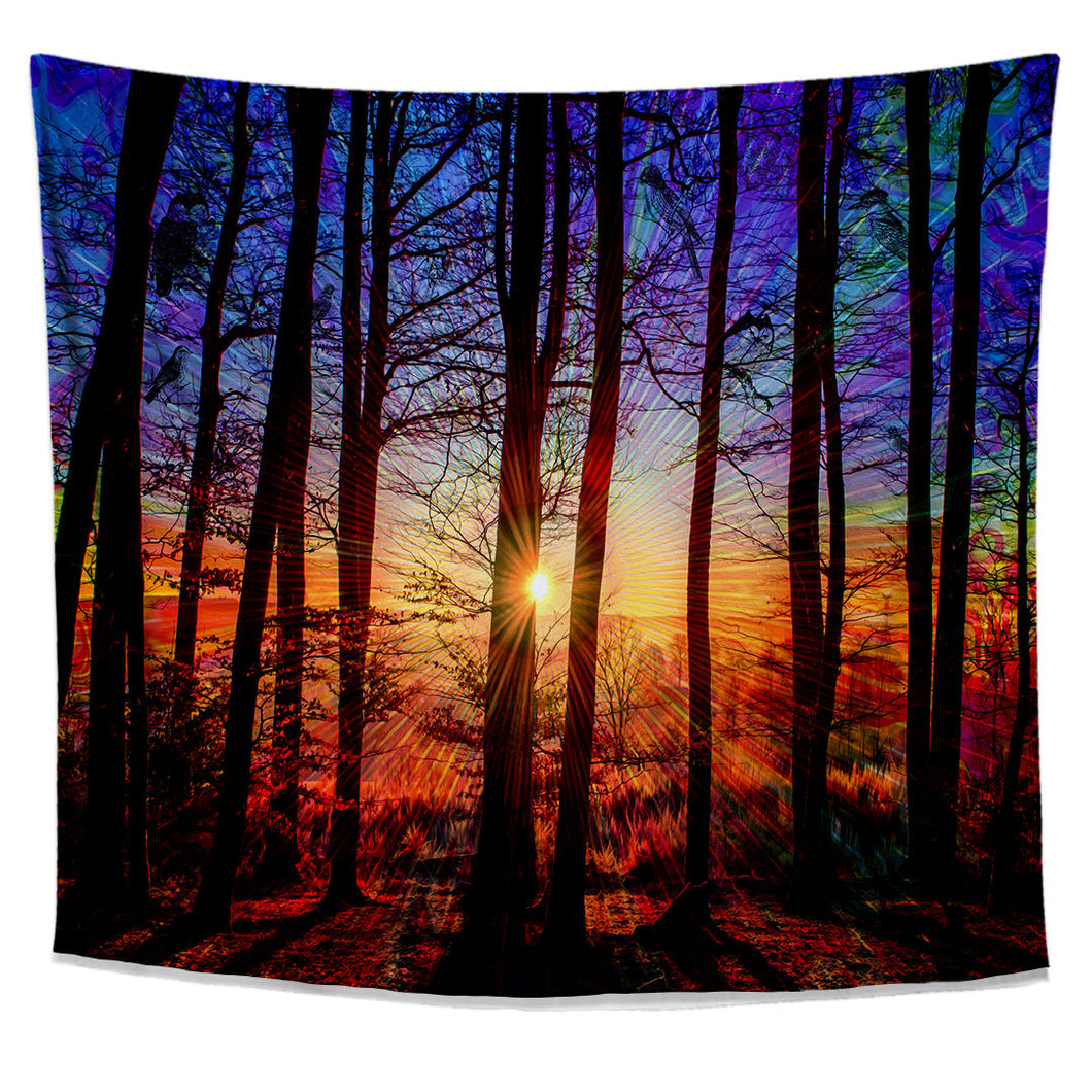 Sunrise Tapestry- Nature Forest Wall Tapestry- Tree Owl Design- Sun College Dorm Decor- Blue Wall Art- Amazing Natural Photography - Jud Hayden Art