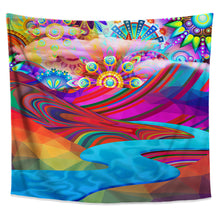 Rainbowland Tapestry- Colorful Psychedelic Wall Tapestry- Mountain Wall Hanging- Nature River College Dorm Tapestry- Unique Wall Hanging - Jud Hayden Art