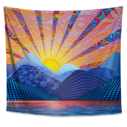 Psychedelic Sunrise Tapestry-  Colorful Dorm Decor- Premium Trippy Art Wall Tapestry- Blue Sky Wall Hanging- Sun Tapestry- Trippy Home Decor - Jud Hayden Art