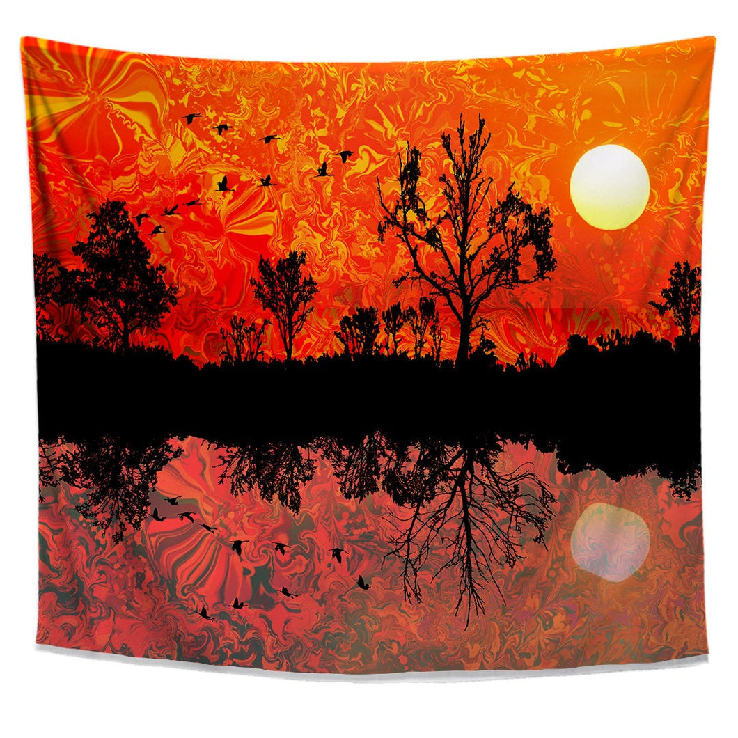 Forward North Nature Tapestry- Psychedelic Dorm Pattern- Forest Reflection Wall Art- Bird Theme Wall Decor- Sun Tapestry- Melting Sky Design - Jud Hayden Art