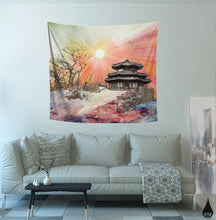 Zen Temple Tapestry | Sun Wall Hanging | Dorm Room Tapestry | Sky Tapestry | Colorful Asian Decor | Sun Red Wall Hanging | Large Wall Art - Jud Hayden Art