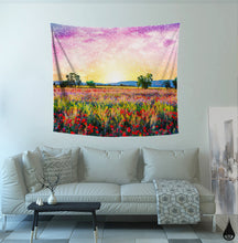 Mandala Meadows Tapestry- Natural Wall Dorm Decor- Psychedelic Sunrise Wall Tapestry- Sun Wall Hanging- Pink Yellow Bedroom- 51 x 58 Inches - Jud Hayden Art