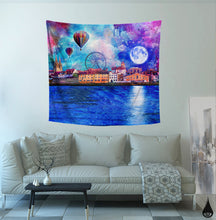 Wonderland Tapestry Wall Hanging | Moon Tapestry | Blue Dorm Tapestry | Colorful Wall Hanging | Night Bedroom Wall Art | Large Wall Hanging - Jud Hayden Art