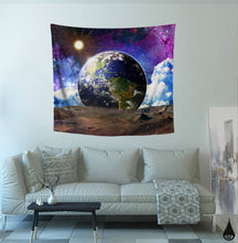 Earth Tapestry- Blue Planet Wall Art- Sun and Moon Dorm Tapestry- Colorful Galaxy Artwork- Landscape Wall Decor- Cool Psychedelic Bedroom - Jud Hayden Art