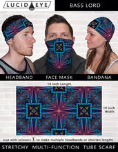 Disco Face 3 Pack Face Mask- Colorful Bandana- Stretchy Tube Scarf- Psychedelic Geometric Artwork- Cool Festival Designs- Rainbow Neck Scarf - Jud Hayden Art