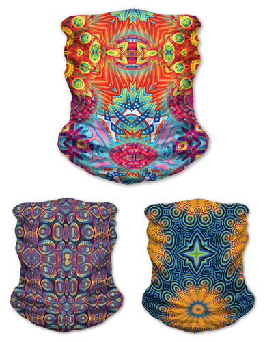 Festival Funk 3 Pack Face Mask- Colorful Bandana- Stretchy Tube Scarf- Psychedelic Artwork- Cool Festival Designs- Trippy Neck Scarves - Jud Hayden Art