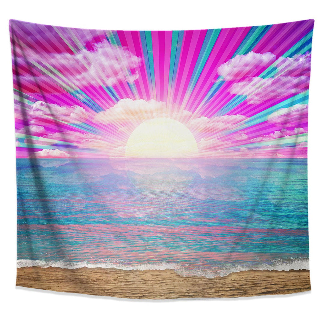 Retro Rays Tapestry Neon Pastel Blue Pink Ocean Sunset Wall Art Colorful Beach Decor Psychedelic Wall Hanging Dorm Wall Hanging - Jud Hayden Art