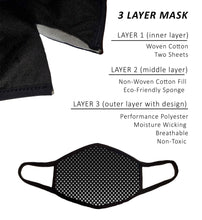 Large Face Mask with Filters, Nose Wire, and Filter Pocket, Cotton-Poly Sport Fabric, Adult Men Guys Women Extra Large, Cool Design