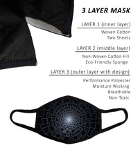 Face Mask, PM 2.5 Filters, Nose Wire, and Filter Pocket, Cotton-Poly Performance Moisture Wicking Fabric, Small - Medium, Cool Design