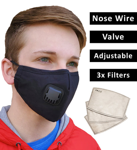 Face Mask + 3 Filters PM 2.5, Black Cotton, Adjustable Elastic Earloops Metal Nose Clip, Re-Usable, Small, Medium Adult, Fast Shipping USA