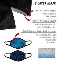 Large 3 Layer Face Masks with Nose Wire and Filter Pocket, Cotton-Poly Performance Fabric, Adult Man Men Woman XL, Pack of 2