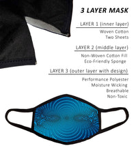 Large 3 Layer Face Mask with Filters, Nose Wire, and Filter Pocket, Cotton-Poly Sport Fabric, Adult Men Guys Women Extra Large, Cool Design