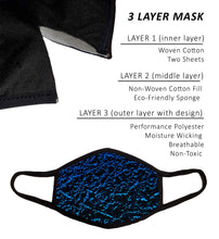 Large Face Mask with Filters, Nose Wire, and Filter Pocket, Cotton-Poly Performance Fabric, Adult Large -Extra Large, Cool Design