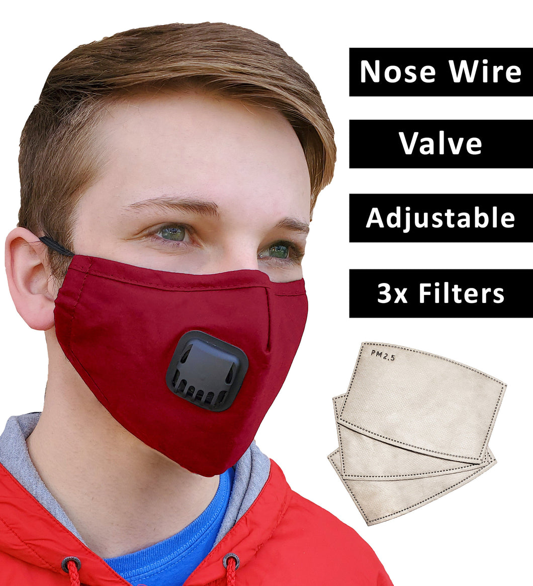 Red Face Mask + 3 Filters PM 2.5, Cotton, Adjustable Elastic Earloops Metal Nose Clip, Re-Usable, Small, Medium Adult, Fast Shipping USA