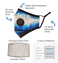 Face Mask + Filter PM 2.5, Poly Cotton Blend, Adjustable Elastic Earloops Metal Nose Clip, Re-Usable, Small, Medium Adult, Fast Shipping USA