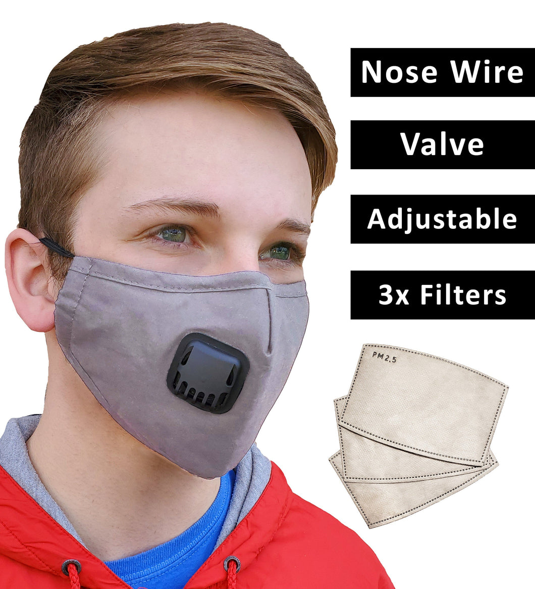 Grey Face Mask + 3 Filters PM 2.5, Cotton, Adjustable Elastic Earloops Metal Nose Clip, Re-Usable, Small, Medium Adult, Fast Shipping USA