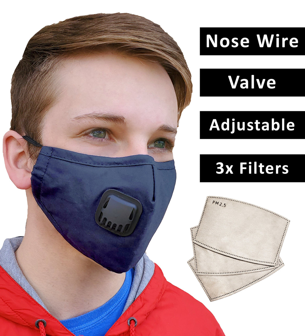 Blue Face Mask + 3 Filters PM 2.5, Cotton, Adjustable Elastic Earloops Metal Nose Clip, Re-Usable, Small, Medium Adult, Fast Shipping USA