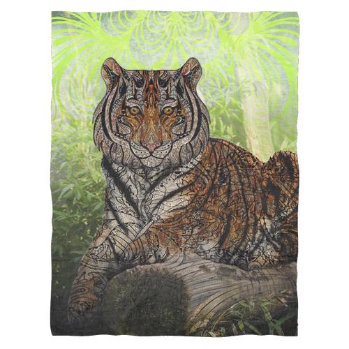 Paisley Tiger Fleece Blanket - Jud Hayden Art