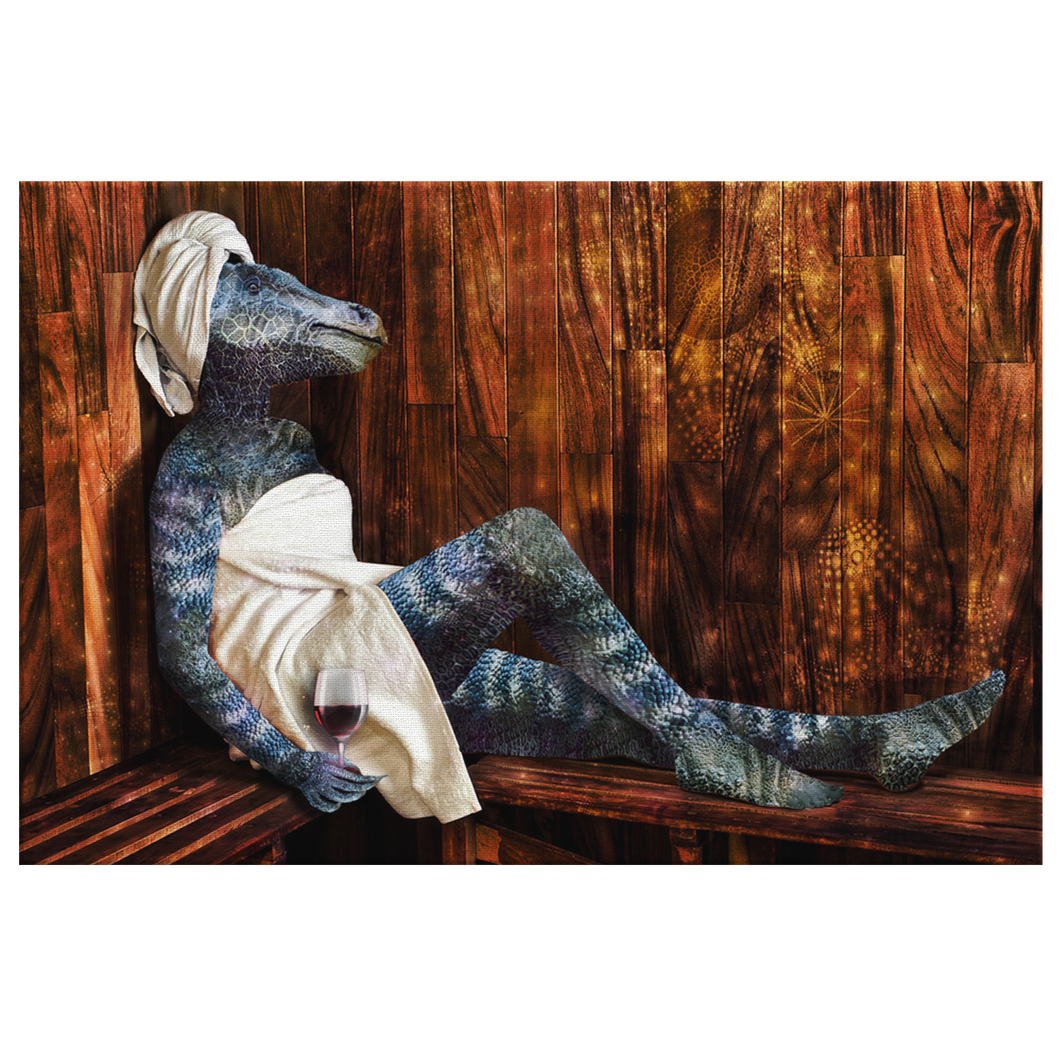 Dino Spa Canvas - Jud Hayden Art