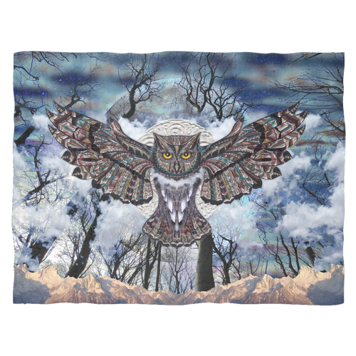 Moon Owl Fleece Blanket - Jud Hayden Art