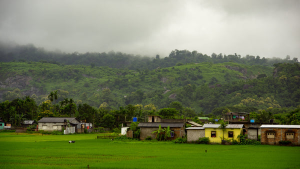 Small village at the foot of a hill