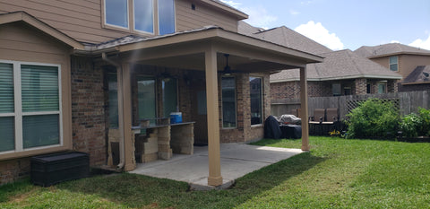 Covered Porch/patio cover with James Hardie Columns, James Hardie Panel ceiling & Soffit, CertainTeed Landmark Shingles in Weathered wood.
