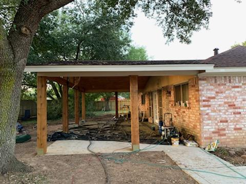 Rustic Covered Patio Addition with Gable roof, cathedral ceiling, Cedar columns, Cedar ceiling and Soffit, patio cover with open gable cedar truss