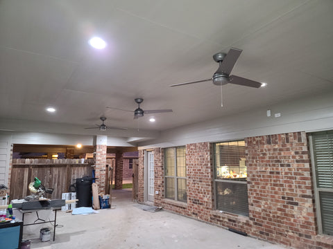 Large Covered patio addition ceiling with james hardie cedar mill soffit lighting and fans