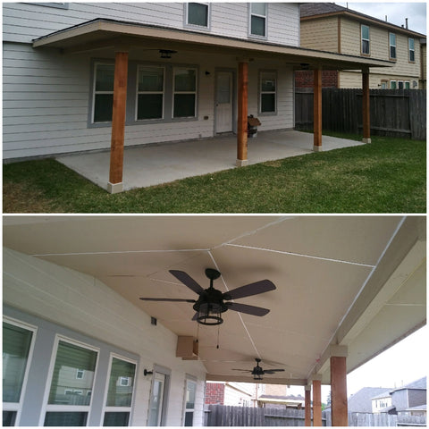 Covered Patio Addition with cedar Columns, James Hardie Panel Soffit, & Owens Corning Duration Architectural Shingles in Weathered wood.
