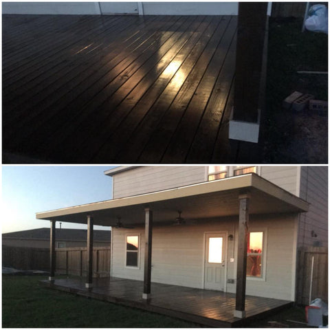 Covered Deck Patio Addition With Stained & Sealed Treated deck & columns, James Hardie Panel soffit, & Owens Corning Supreme shingles