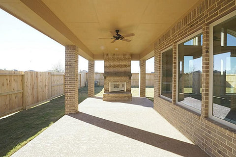Covered Porch addition with Brick Columns, brick outdoor fireplace, James Hardie Panel ceiling & Soffit