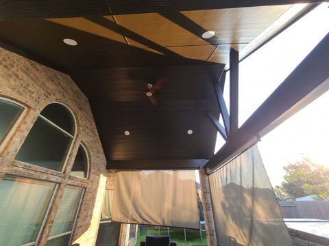 vaulted gable roof patio cover ceiling with monte carlo maverick II fan
