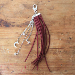 Leather Tassel - Maroon Moon and Stars