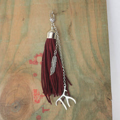 Leather Tassel - Maroon Antler Feather