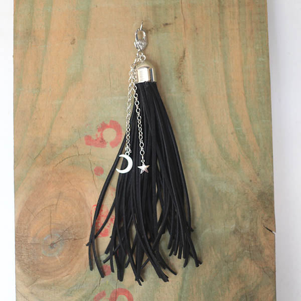 Leather Tassel - Star Moon Black