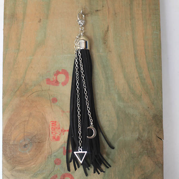 Leather Tassel - Geometric Moon Black