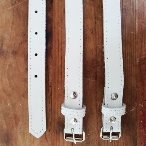 Leather Belt - white - 90 X 1.5cm