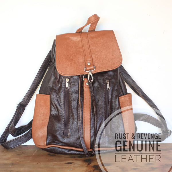 ZIP Backpack - Choc and Caramel