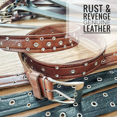 Leather Belt - Studded Caramel