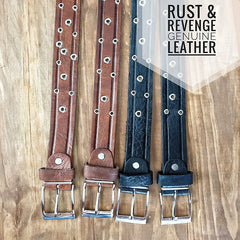 Leather Belt - Studded Black