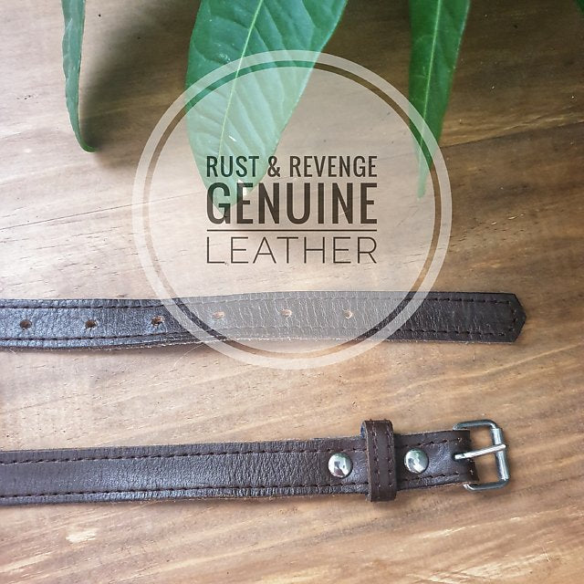 Leather Belt - 106cm x 2cm Chocolate