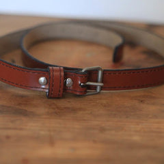 Leather Belt - Dark Tan Glaze - 85cm x 1cm